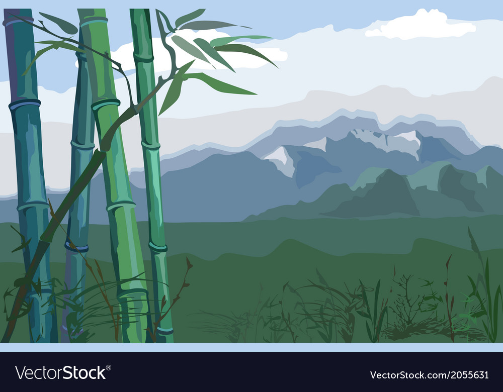 Landscape with bamboo vector | Price: 1 Credit (USD $1)