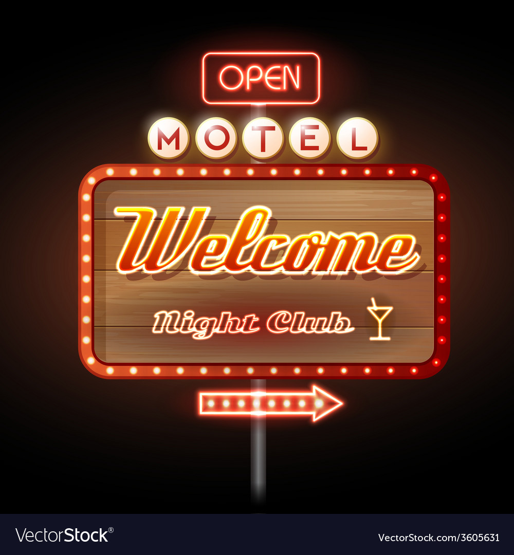 Neon sign motel welcome vector | Price: 1 Credit (USD $1)