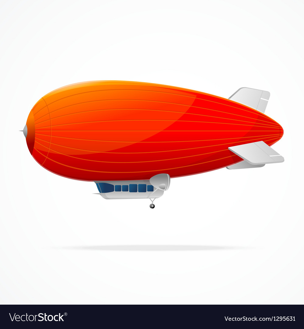 Red dirigible balloon on a white background vector | Price: 1 Credit (USD $1)