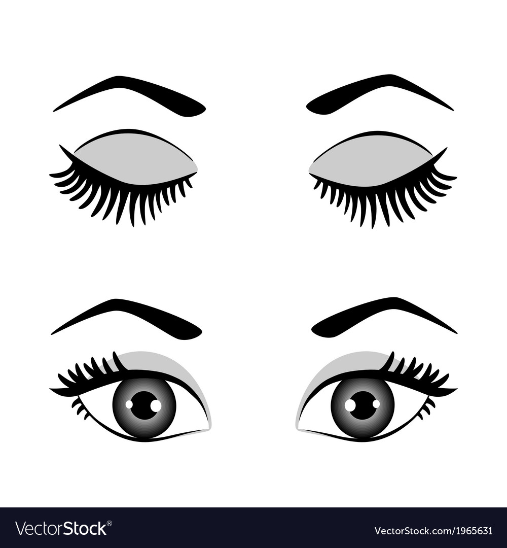 Silhouette of eyes and eyebrow open and closed vector | Price: 1 Credit (USD $1)