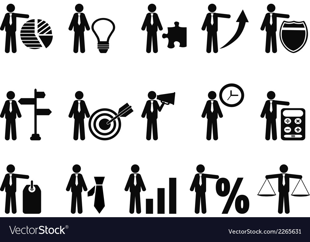 Stick figure with business icons vector | Price: 1 Credit (USD $1)