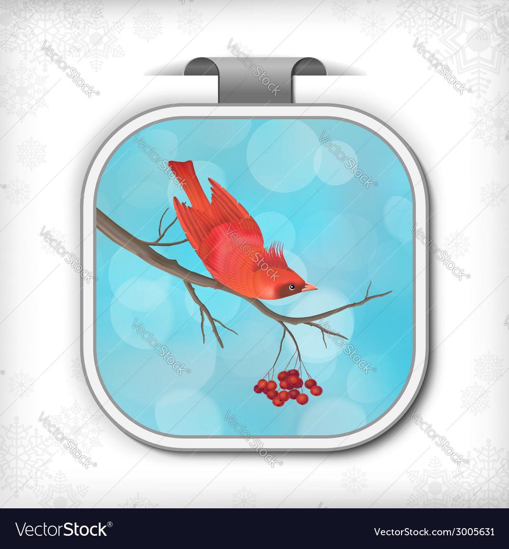 Winter christmas sticker bird rowan tree branch vector | Price: 1 Credit (USD $1)