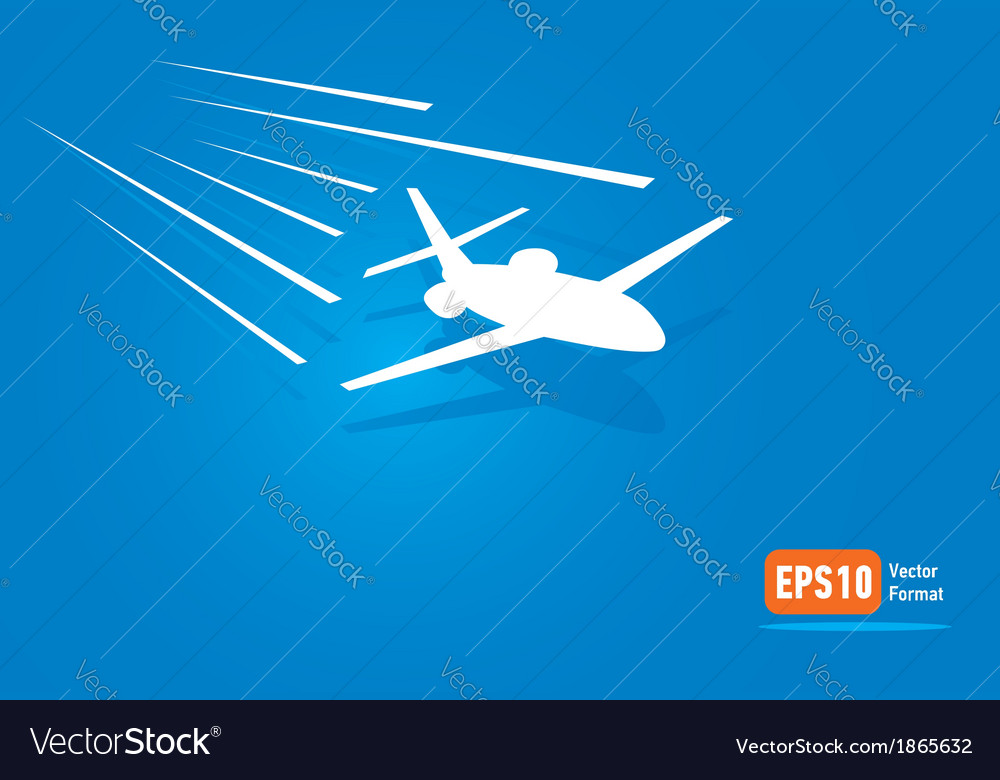Airplane flight air fly sky blue takeoff vector | Price: 1 Credit (USD $1)
