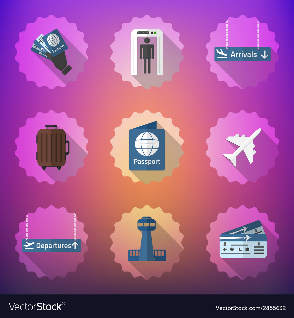 Airport flight traveling flat icon set include vector | Price: 1 Credit (USD $1)