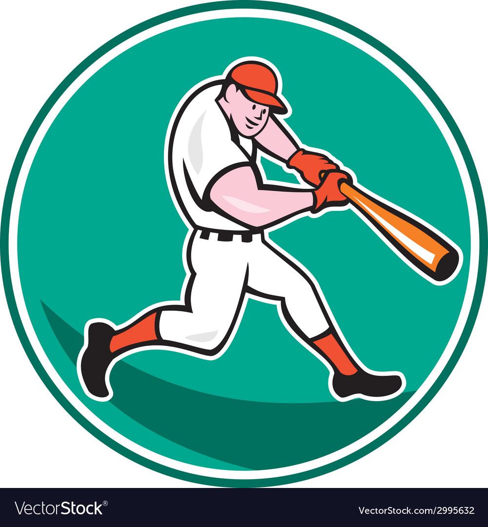 American baseball player batting cartoon vector | Price: 1 Credit (USD $1)