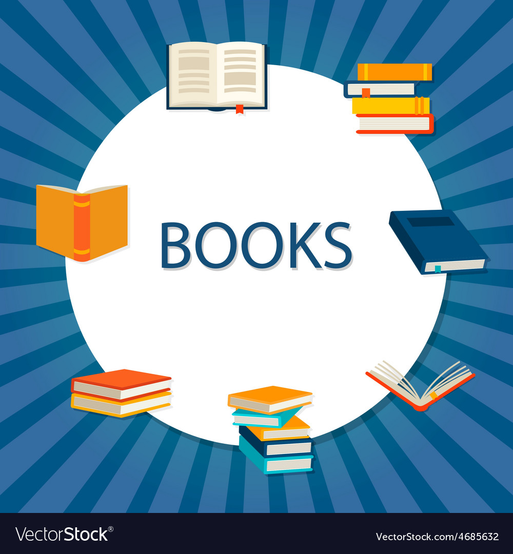 Background with books set vector | Price: 1 Credit (USD $1)