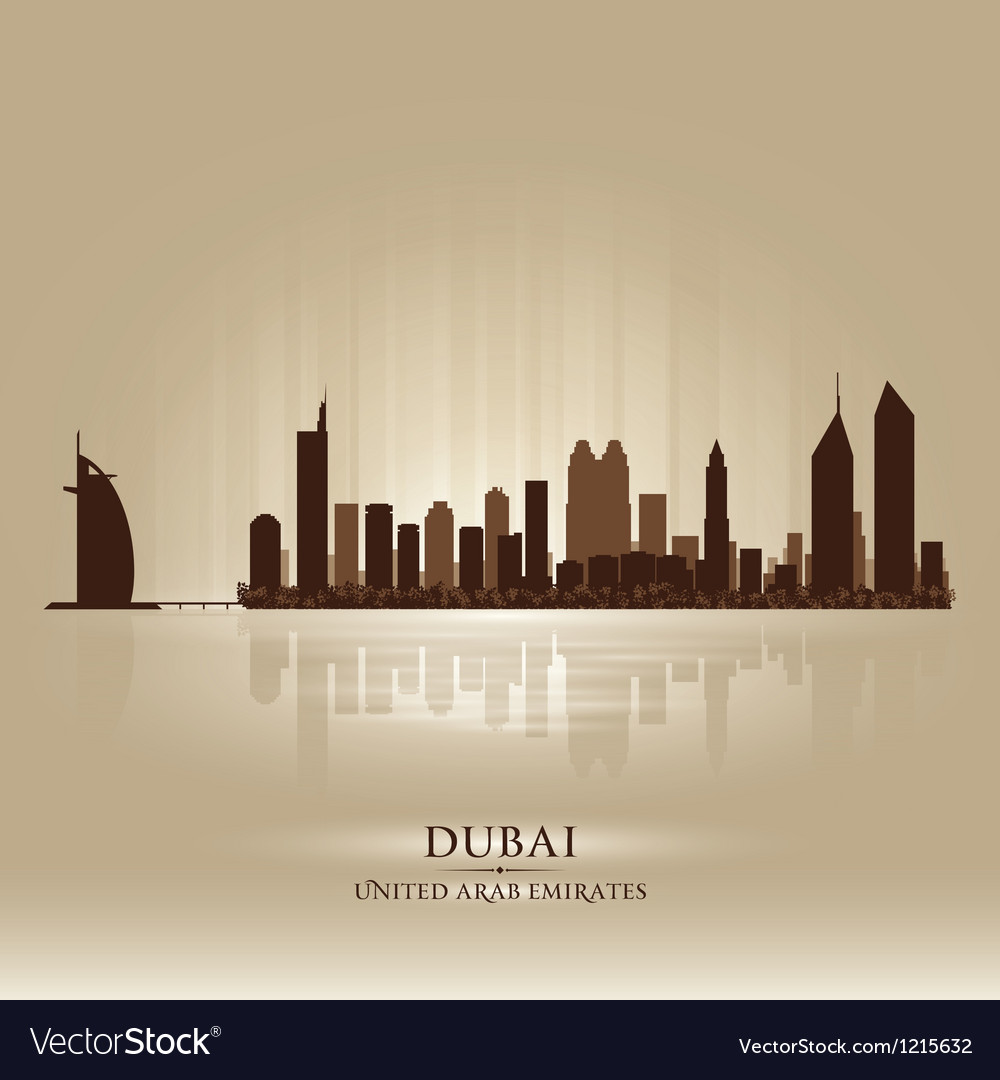 Dubai united arab emirates skyline city silhouette vector | Price: 1 Credit (USD $1)