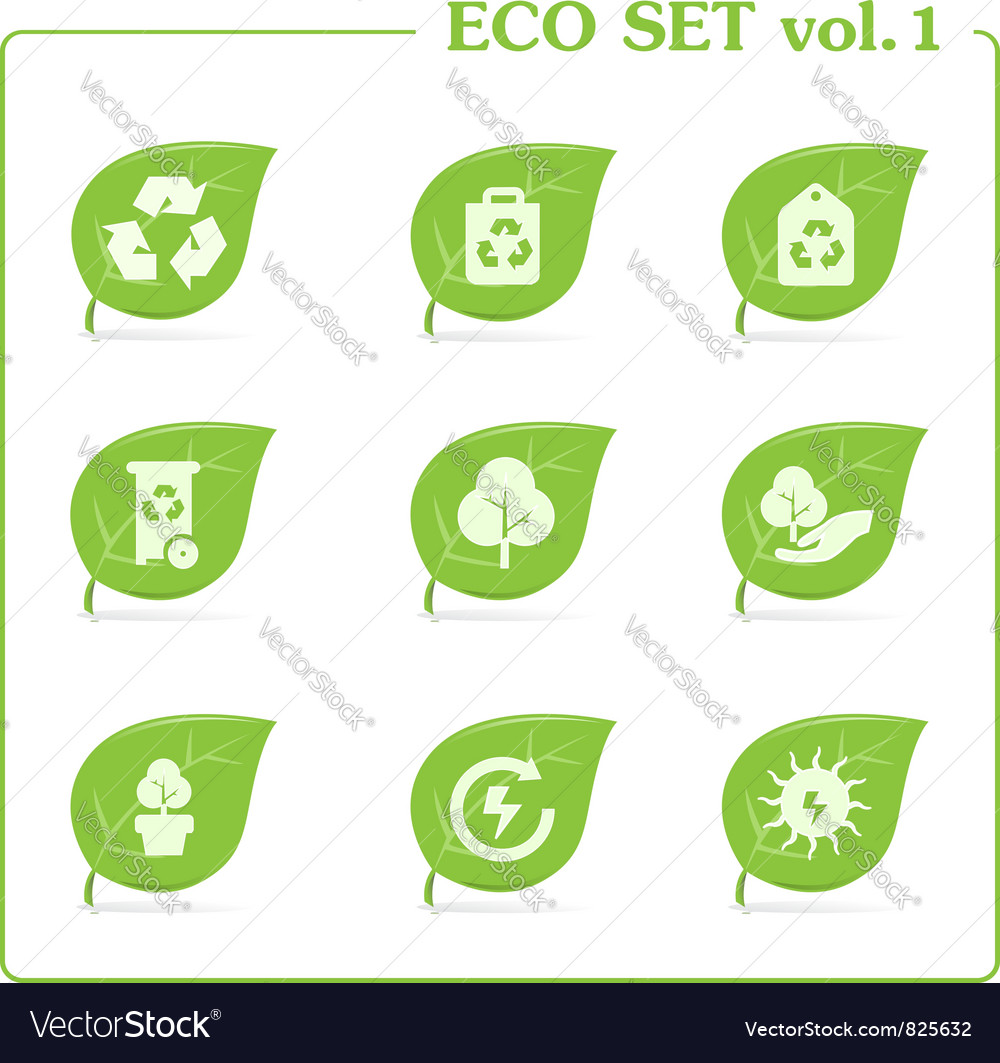 Ecology icon set vol 1 vector | Price: 1 Credit (USD $1)