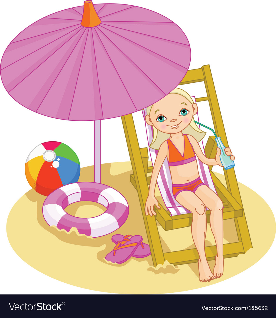 Girl on the beach vector | Price: 3 Credit (USD $3)