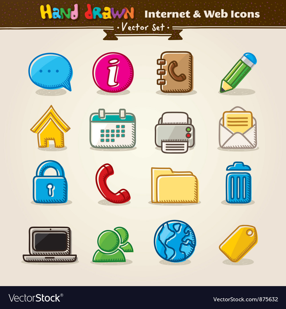 Hand draw internet and web icon set vector | Price: 1 Credit (USD $1)