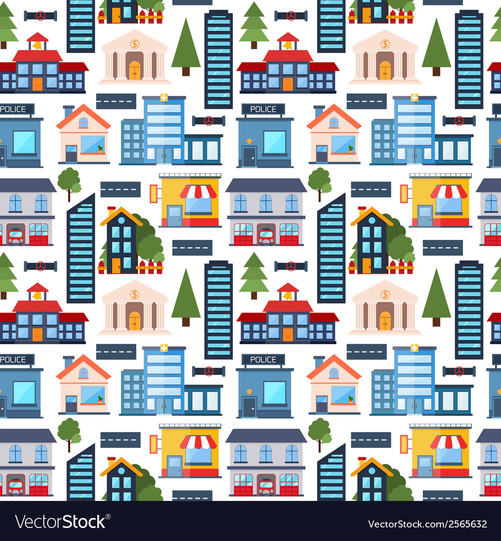 Modern city seamless pattern background vector | Price: 1 Credit (USD $1)