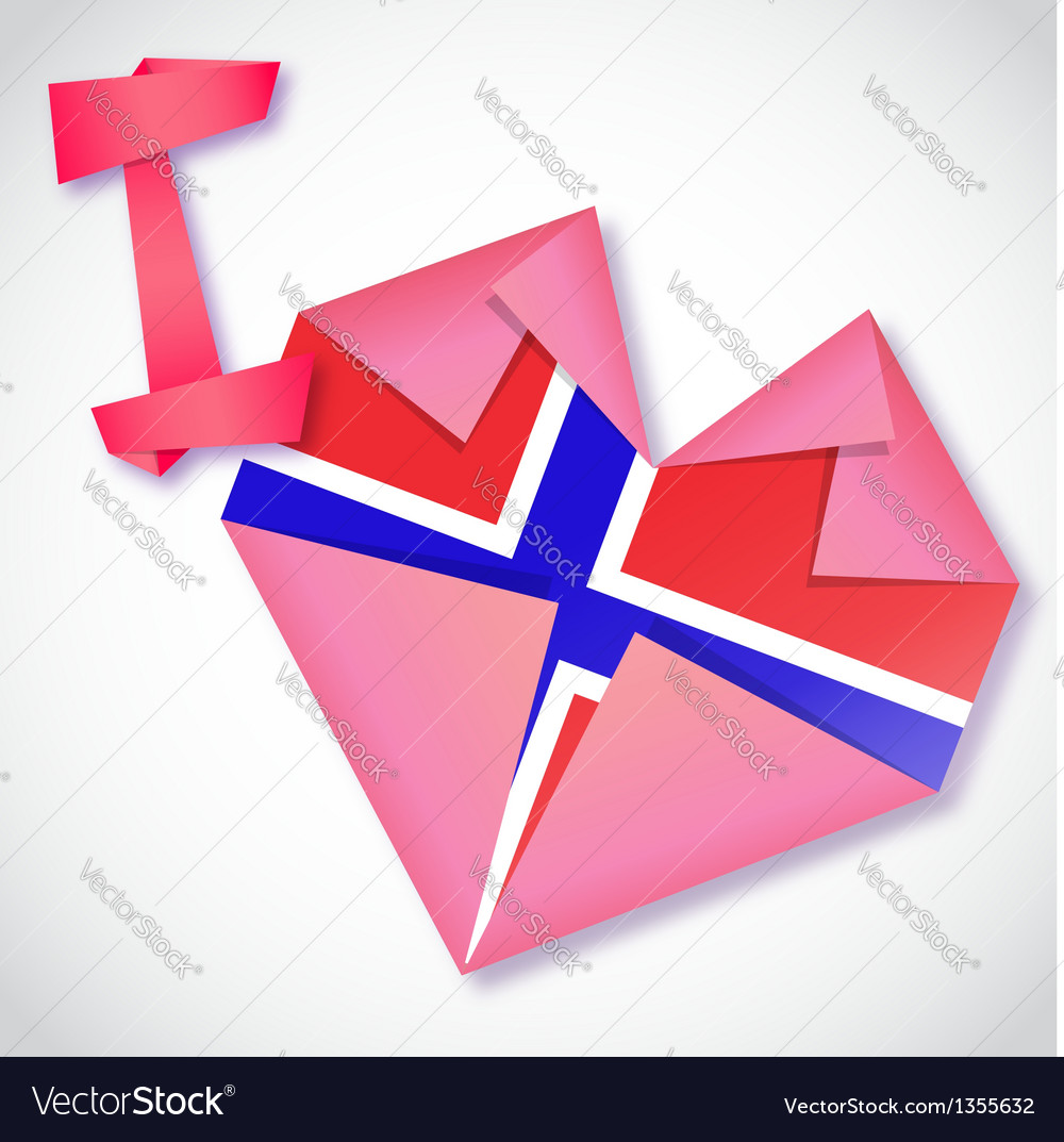 Origami paper i love norway heart card vector | Price: 1 Credit (USD $1)