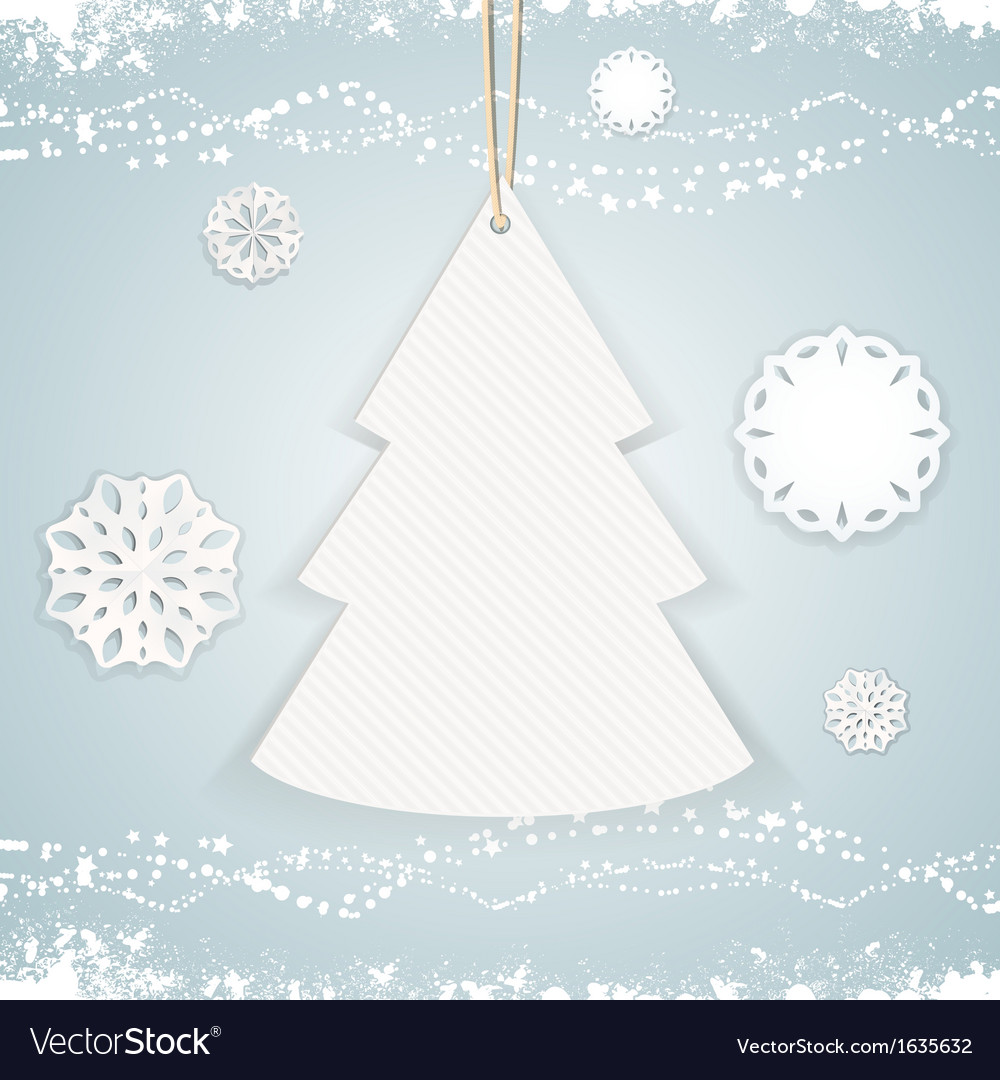 Paper christmas tree background on blue vector | Price: 1 Credit (USD $1)