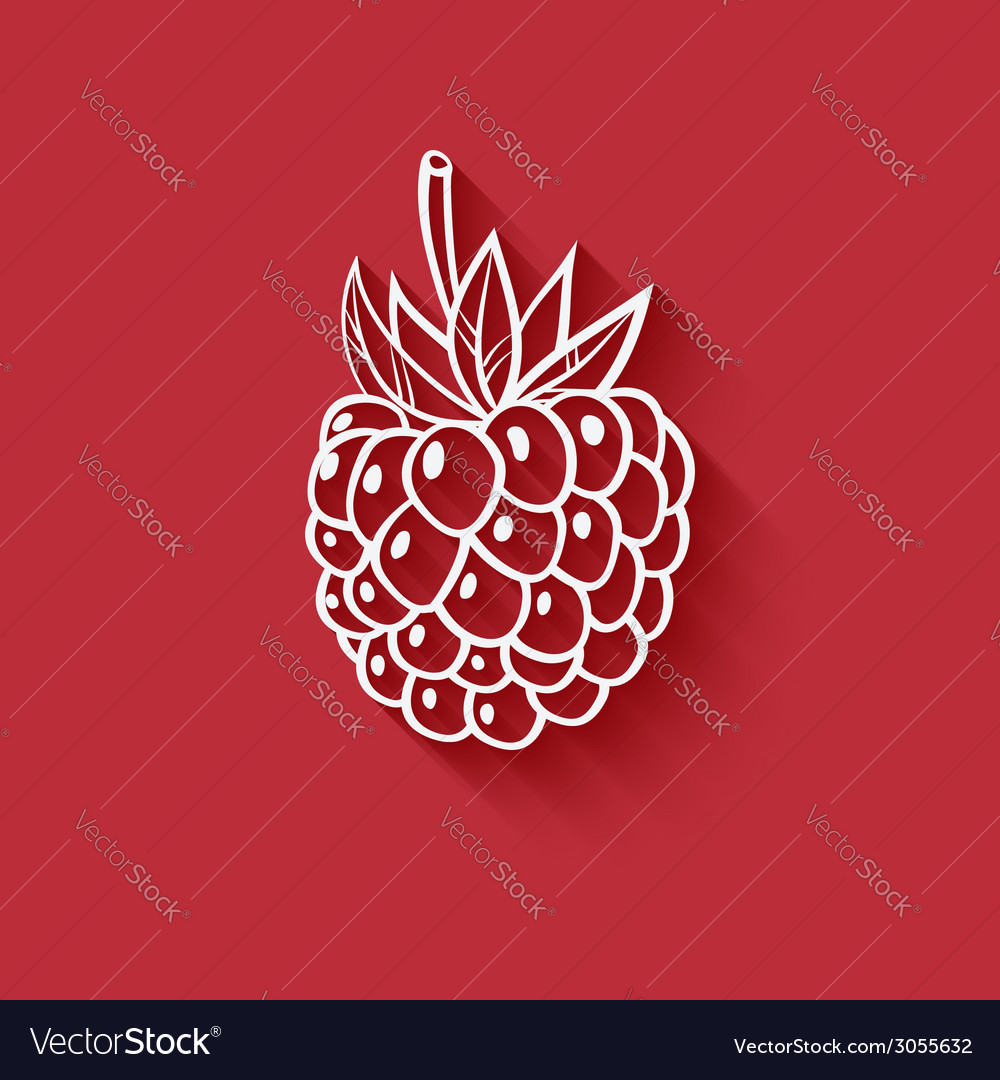 Raspberry on red background vector | Price: 1 Credit (USD $1)