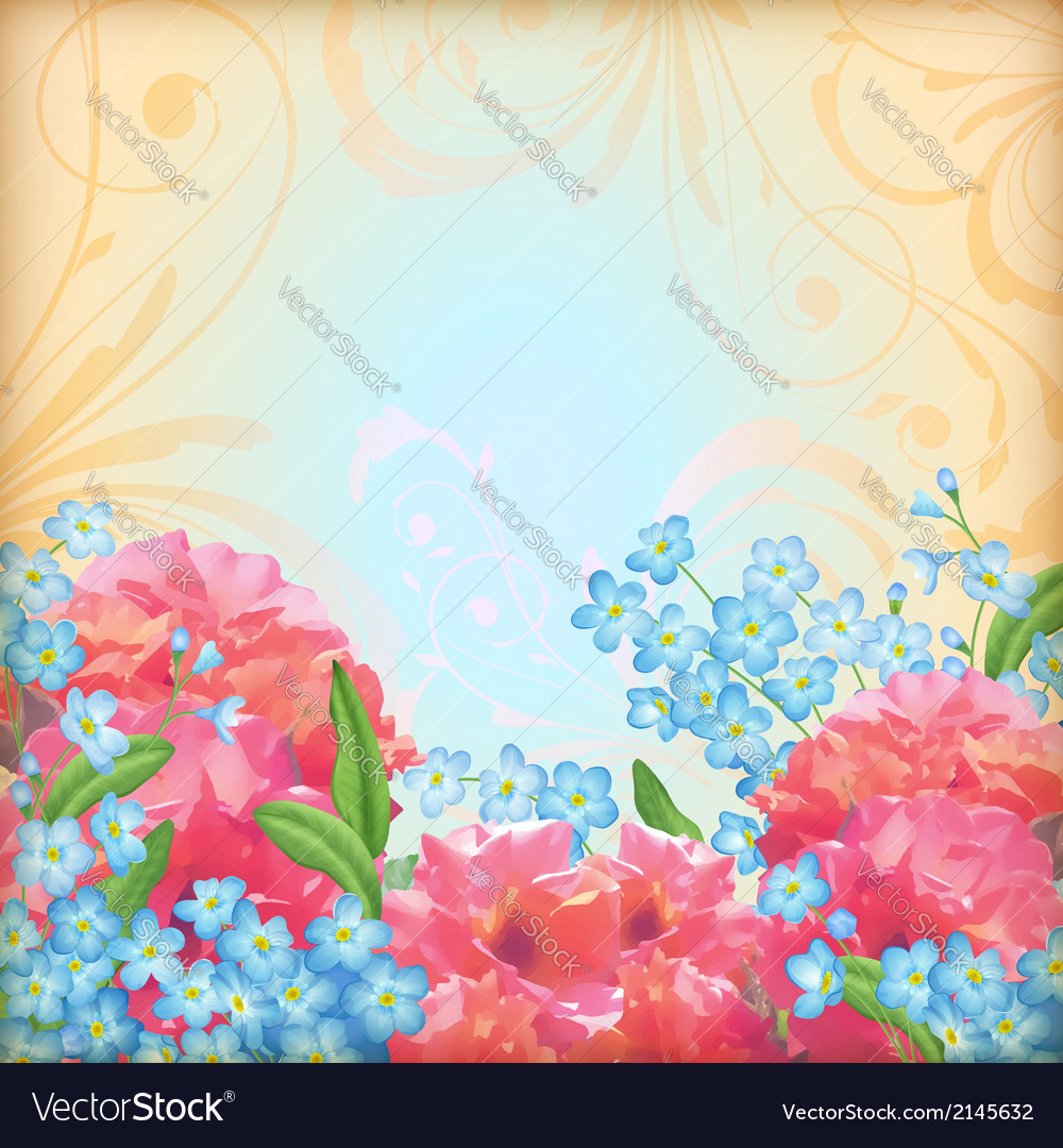 Retro flowers roses background vector | Price: 1 Credit (USD $1)