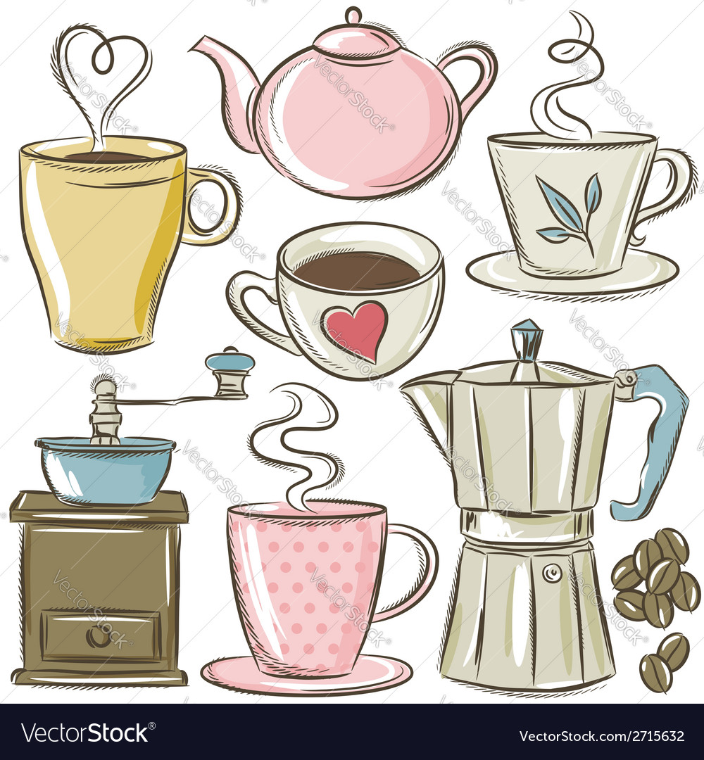Set cup of hot drink vector | Price: 1 Credit (USD $1)