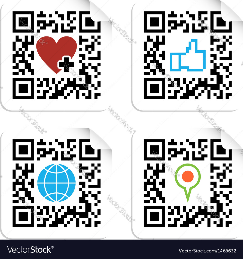 Set of qr codes with social media icons vector | Price: 1 Credit (USD $1)