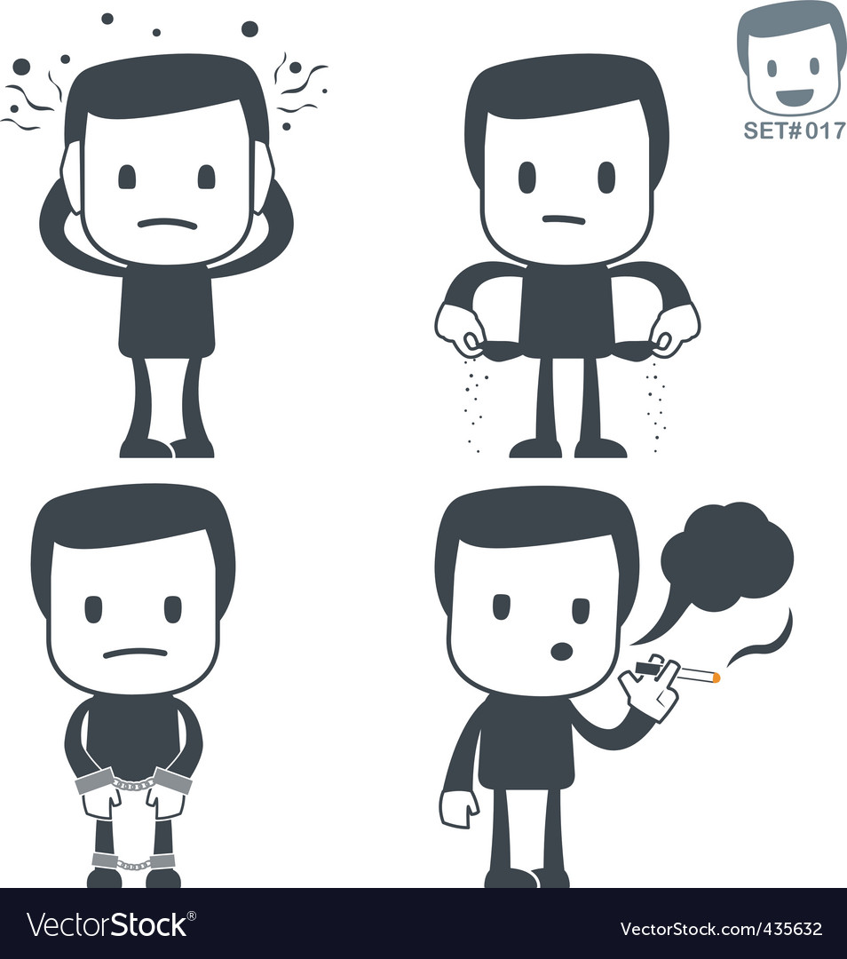 Stress icon man set017 vector