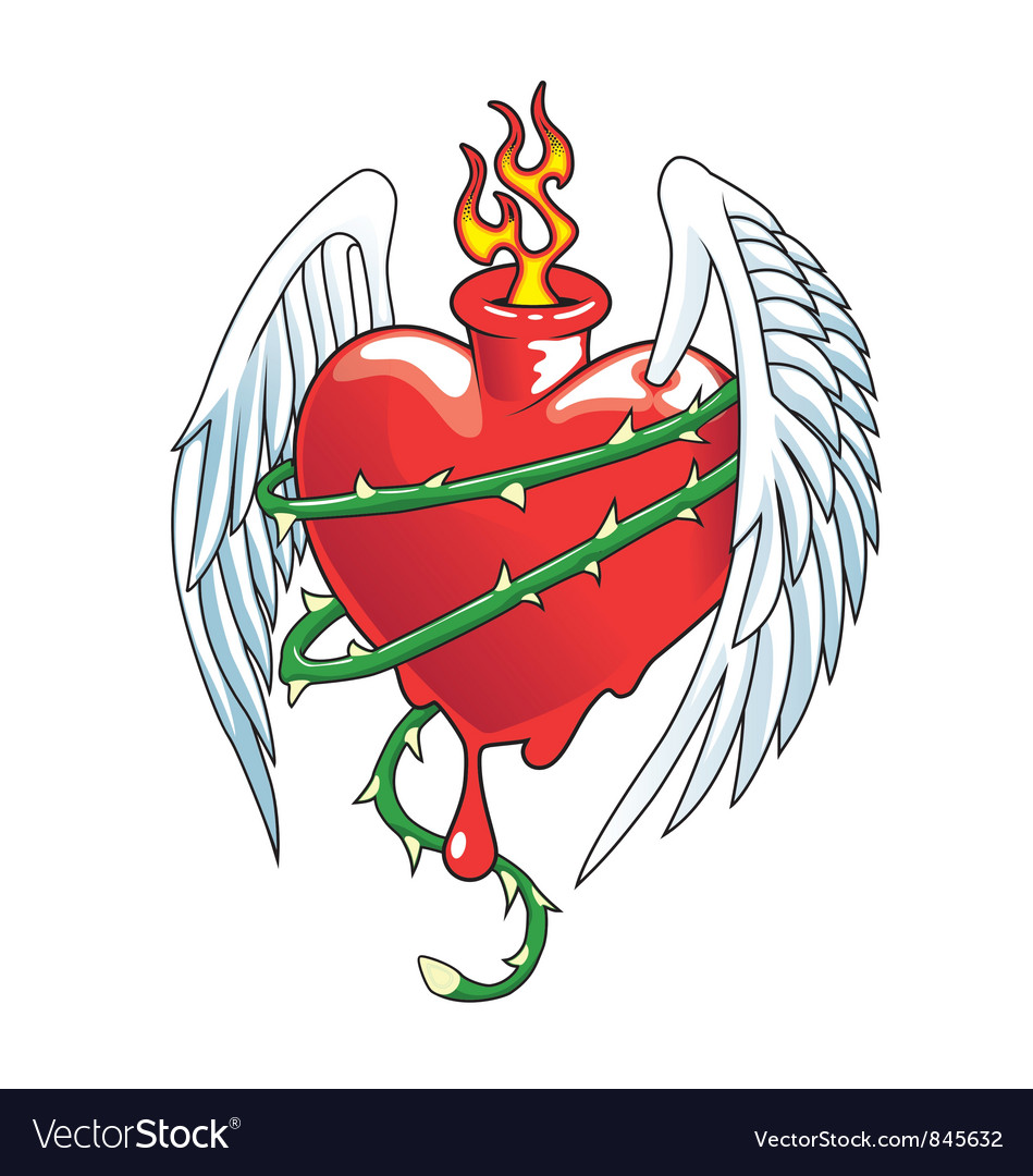 Winged heart with thorns vector | Price: 3 Credit (USD $3)