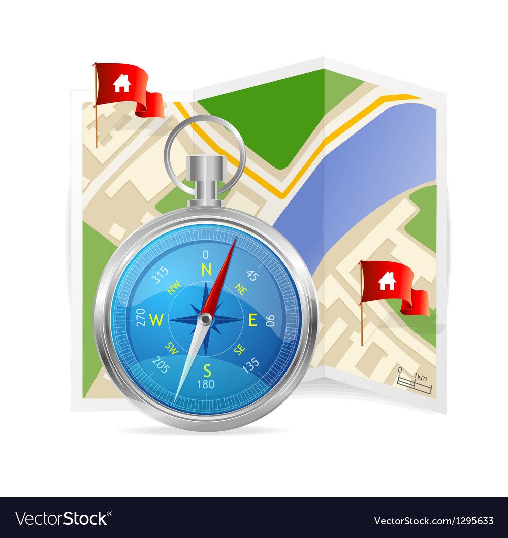 Blue compass and map vector | Price: 1 Credit (USD $1)