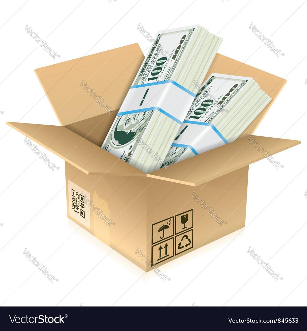 Cardboard box with dollar bills vector   Price: 3 Credit (USD $3)