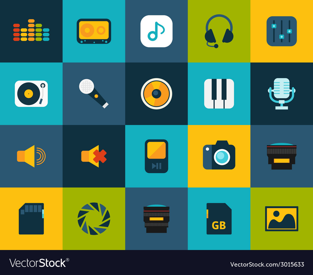 Flat icons set 11 vector
