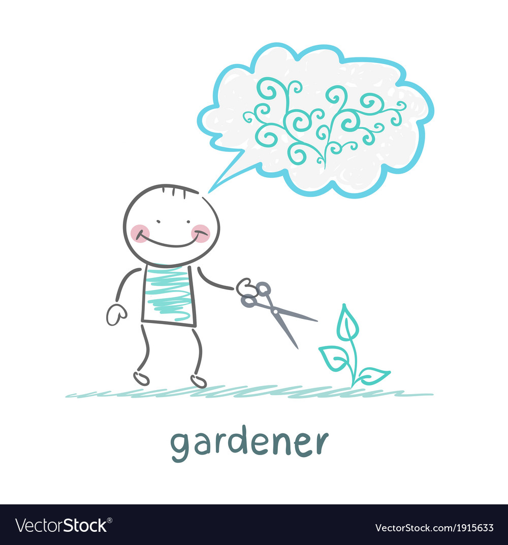 Gardener cuts a bush and think about the beautiful vector | Price: 1 Credit (USD $1)