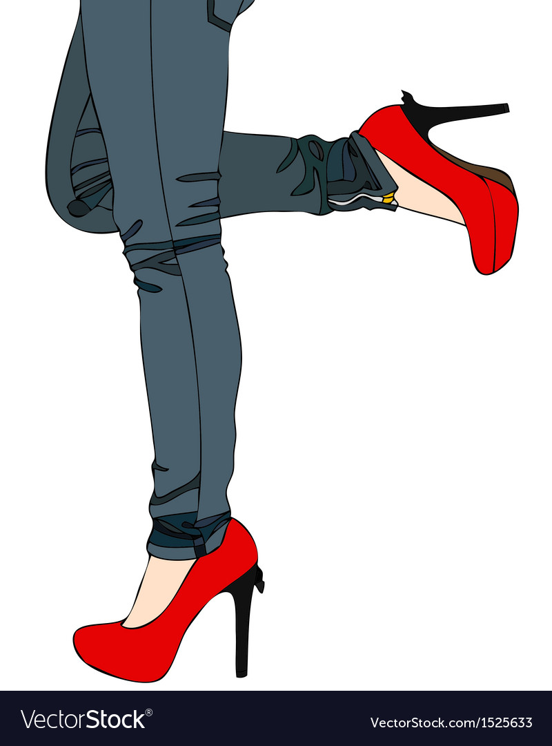 Jeans and sexy red high heels vector | Price: 1 Credit (USD $1)