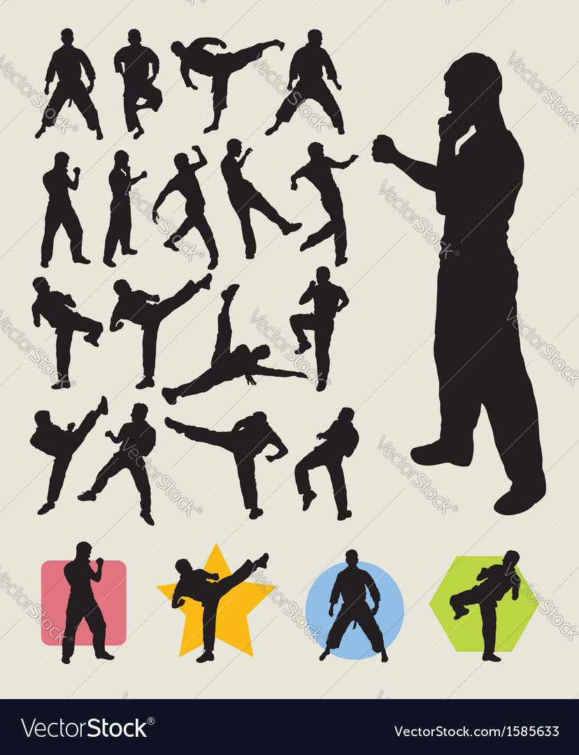 Karateka martial art action silhouettes vector | Price: 1 Credit (USD $1)