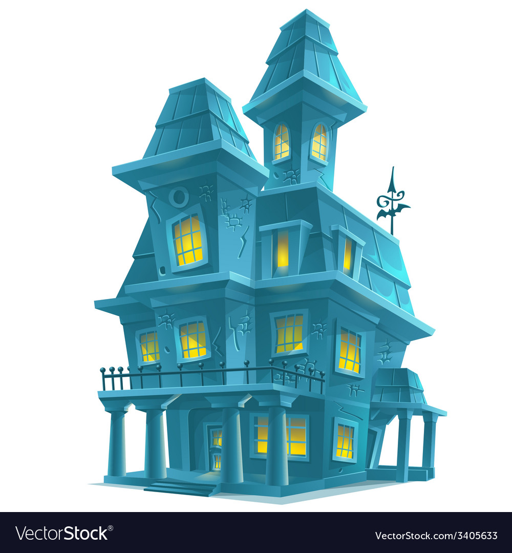 Preview scary haunted house in halloween on white vector | Price: 3 Credit (USD $3)
