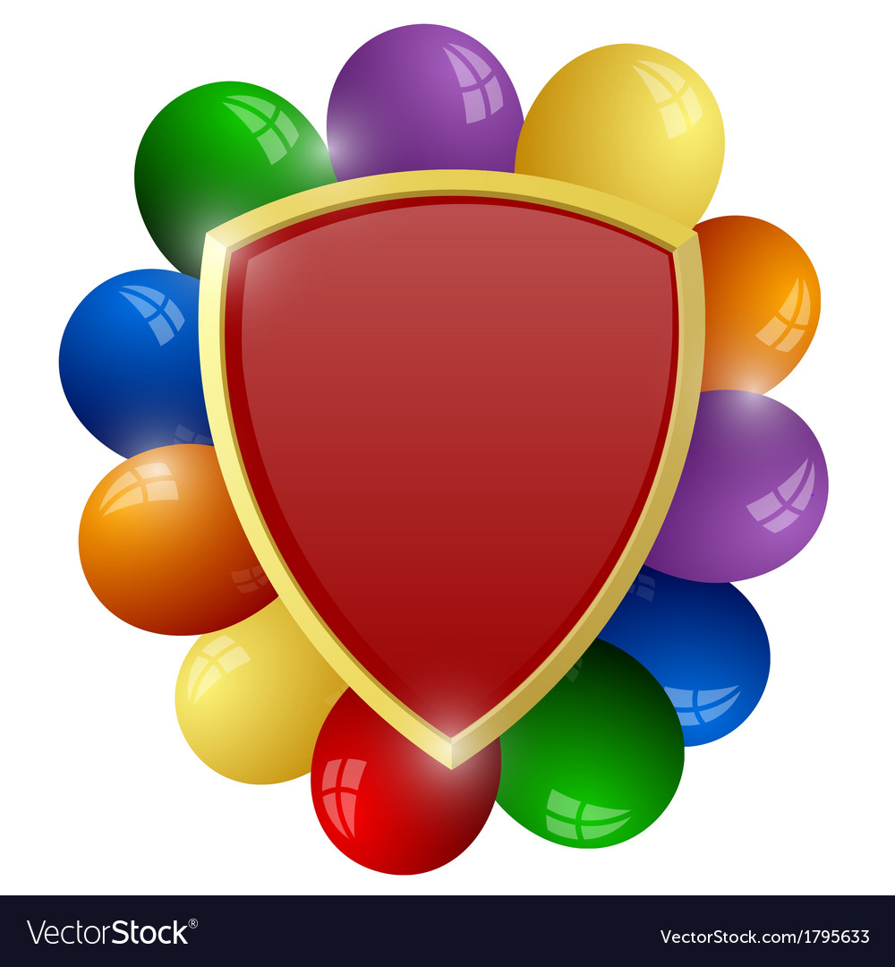 Red shield with a bunch of colorful balloons vector | Price: 1 Credit (USD $1)