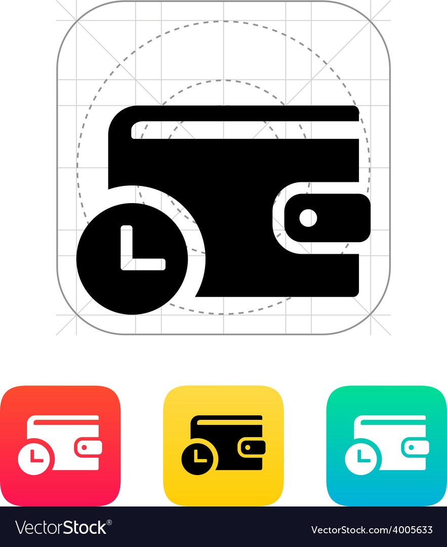 Wallet with timer icon vector | Price: 1 Credit (USD $1)