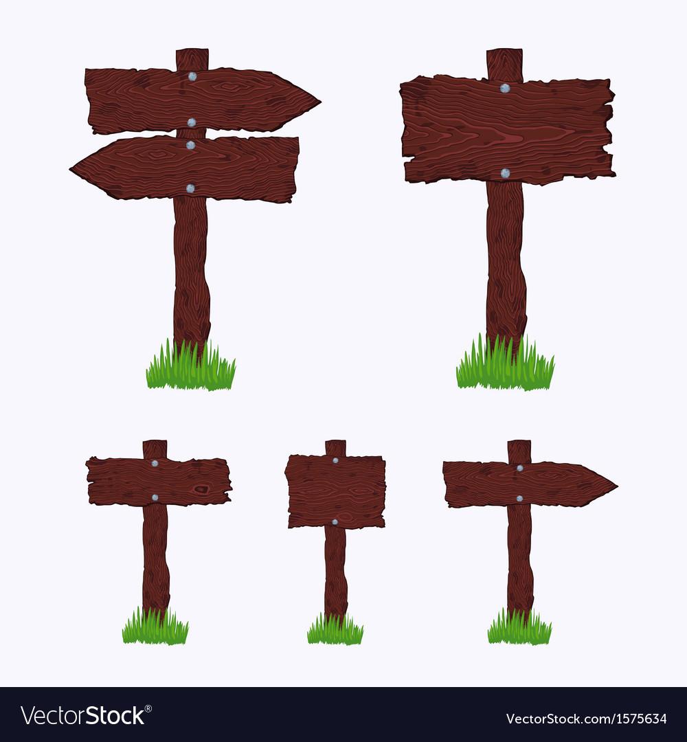 Blank dark wooden signs vector | Price: 1 Credit (USD $1)