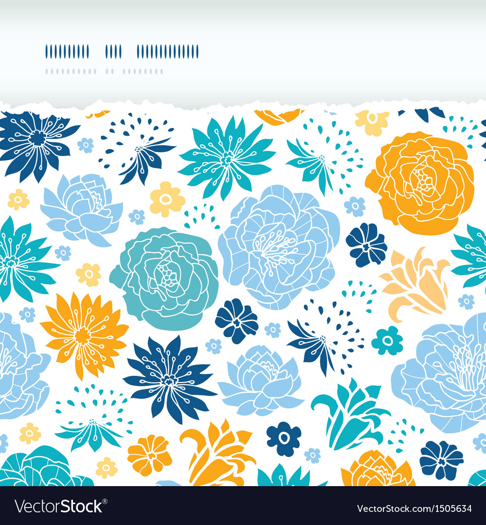 Blue and yellow flower silhouettes torn horizontal vector | Price: 1 Credit (USD $1)