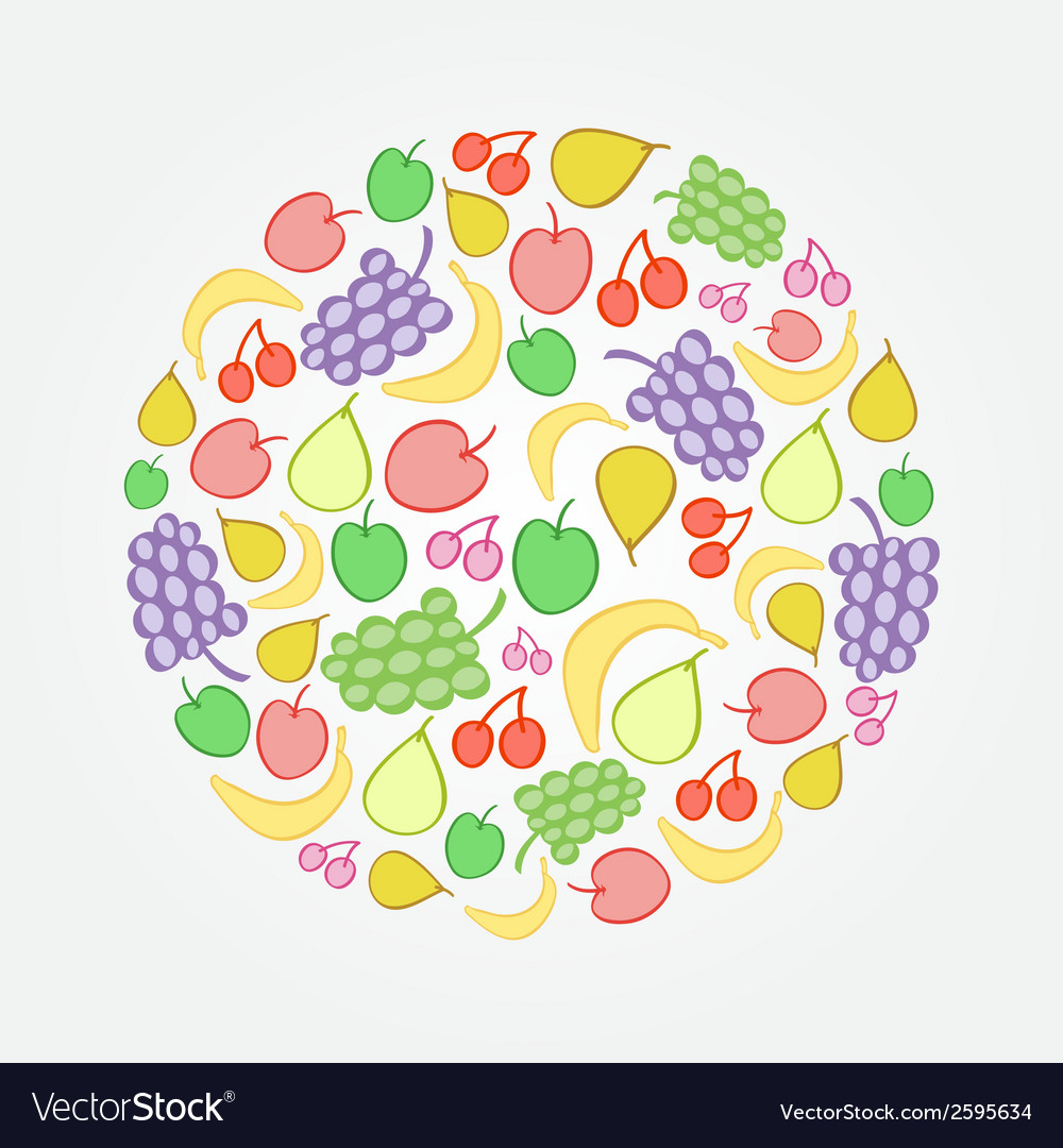 Bright fruit doodle icon vector | Price: 1 Credit (USD $1)