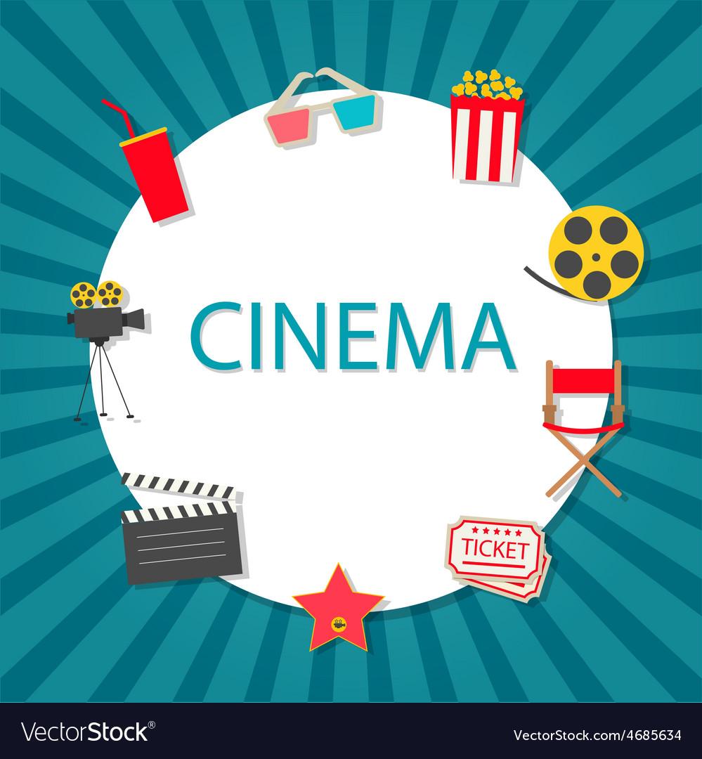 Cinema background with cinema icons set vector   Price: 1 Credit (USD $1)