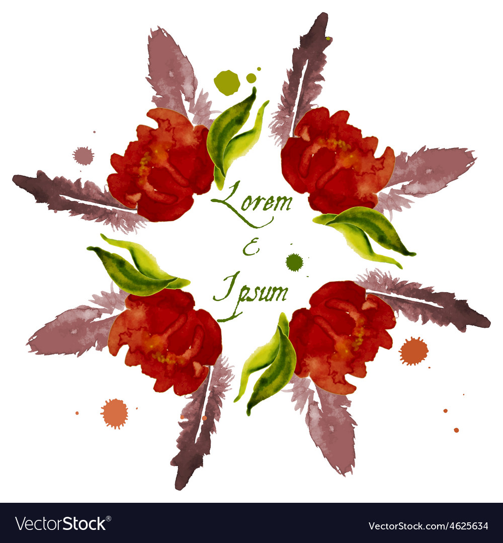 Composition with flower peony vector | Price: 1 Credit (USD $1)