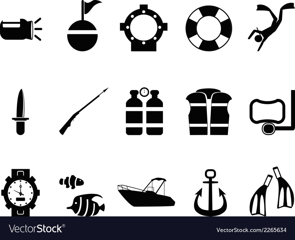 Diving icons set vector | Price: 1 Credit (USD $1)
