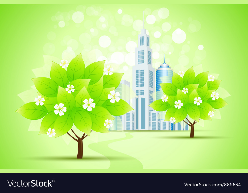 Green trees and city vector | Price: 3 Credit (USD $3)