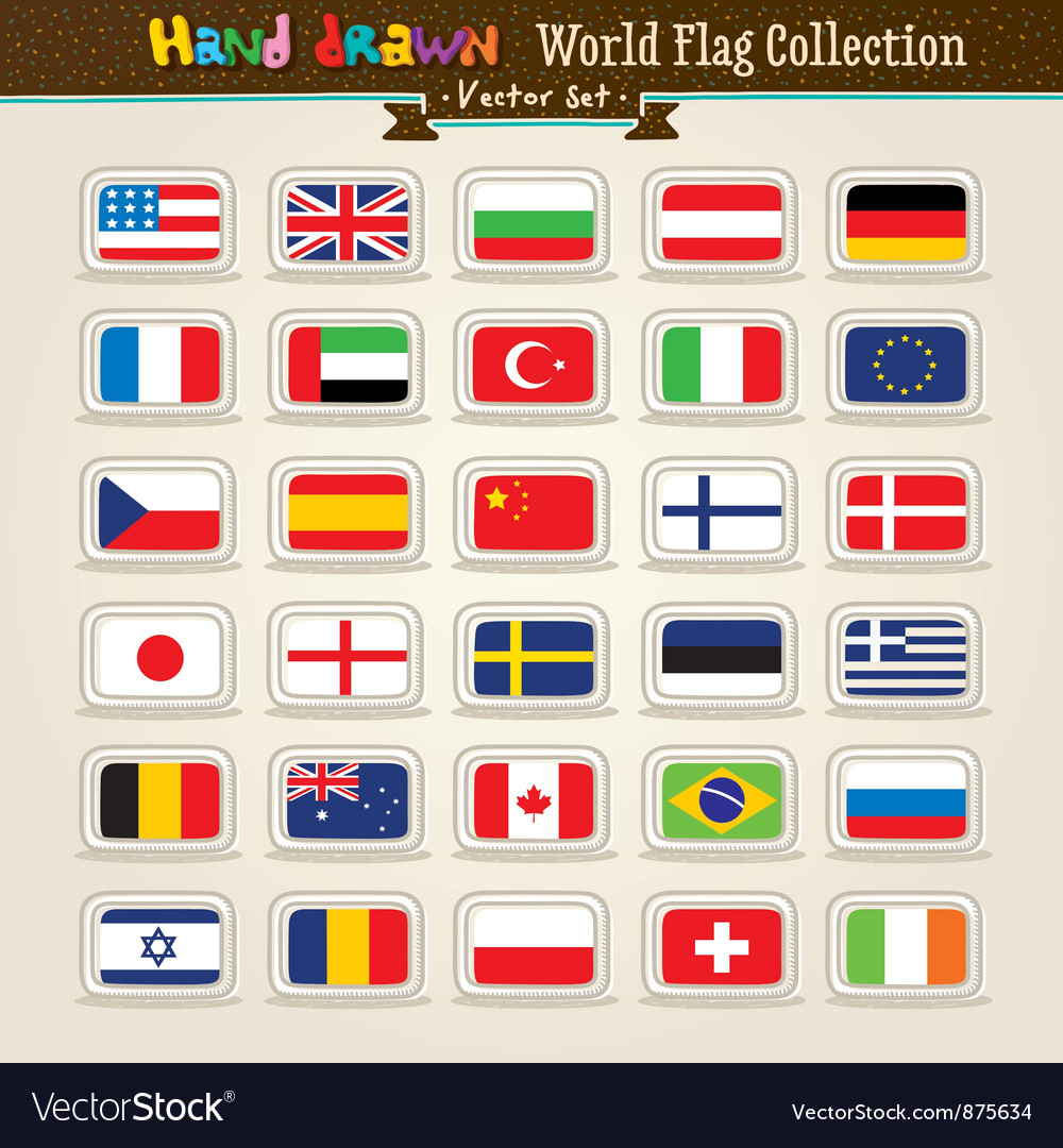 Hand draw world flags icon set vector | Price: 1 Credit (USD $1)
