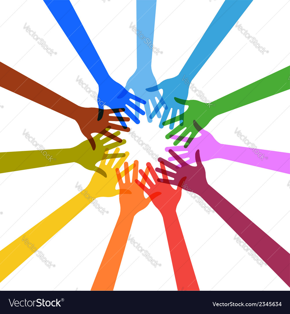 Hands touching each other in circle vector | Price: 1 Credit (USD $1)