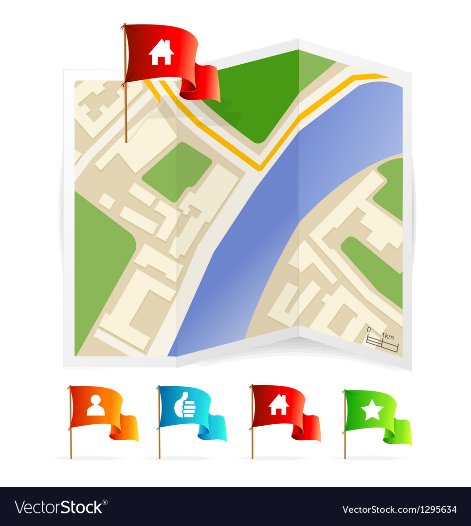 Map with navigation icons vector | Price: 3 Credit (USD $3)