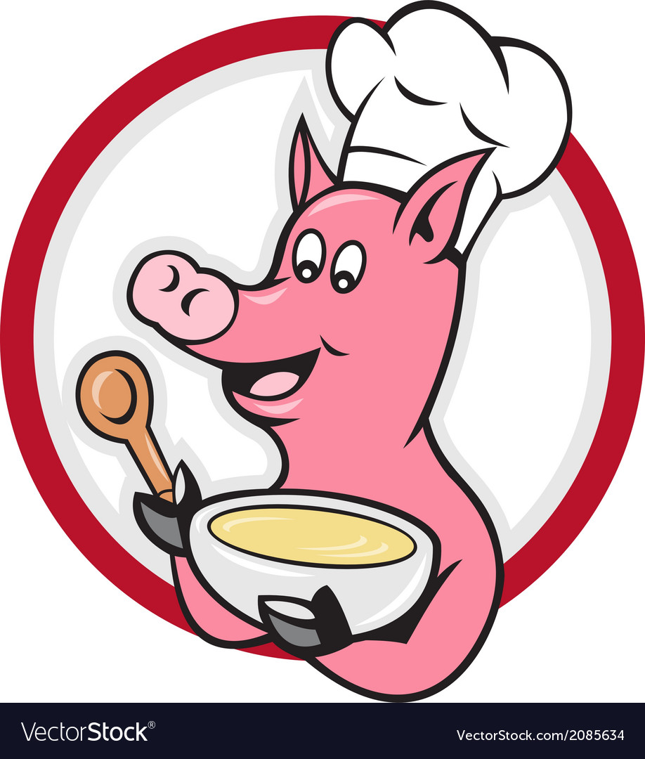 Pig chef cook holding bowl cartoon vector | Price: 1 Credit (USD $1)