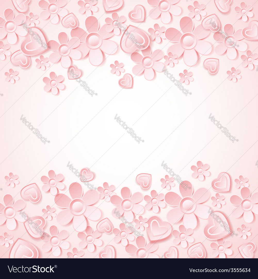 Pink background with valentine heart flowers vector | Price: 1 Credit (USD $1)