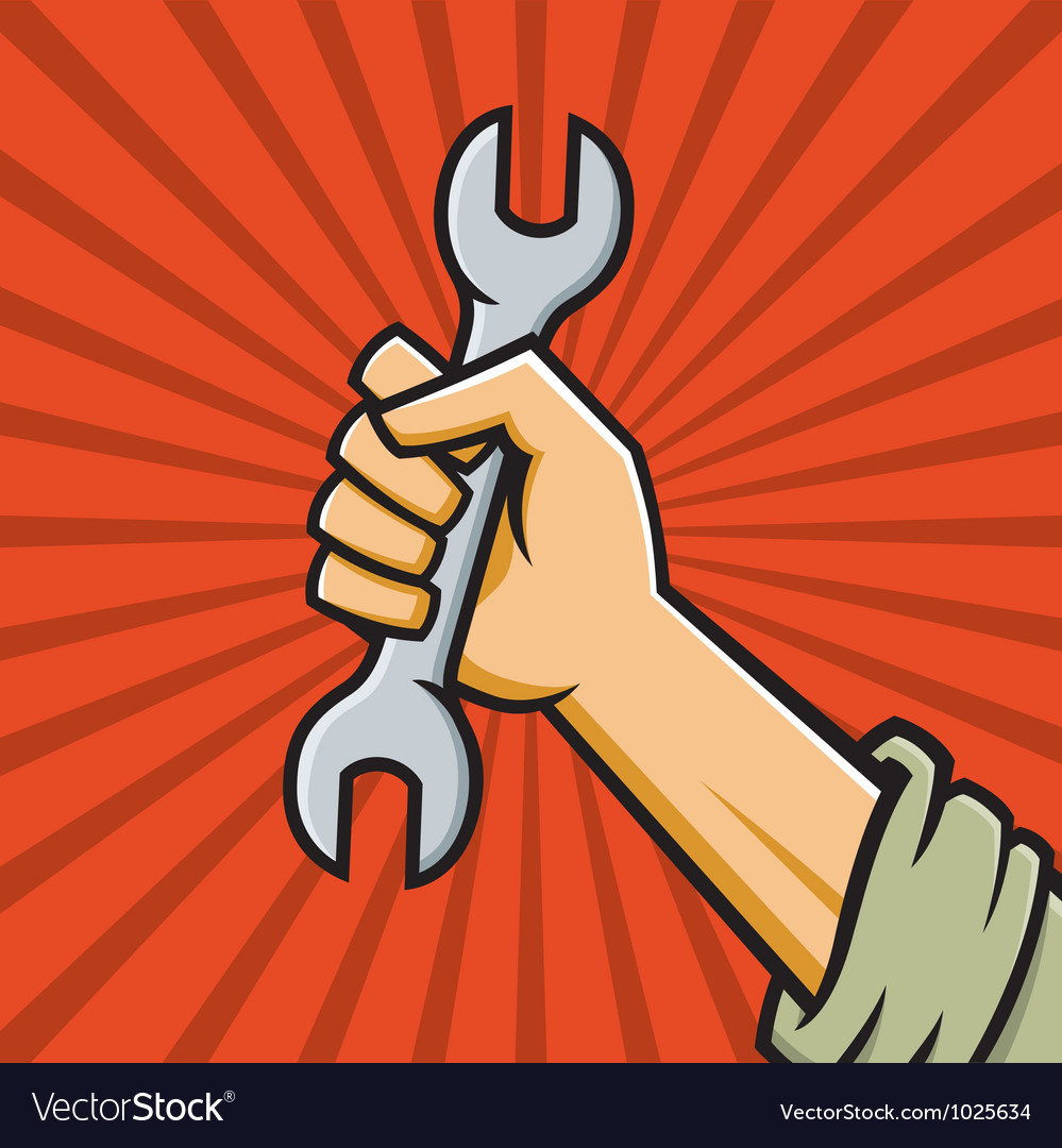 Raised fist holding wrench vector | Price: 1 Credit (USD $1)