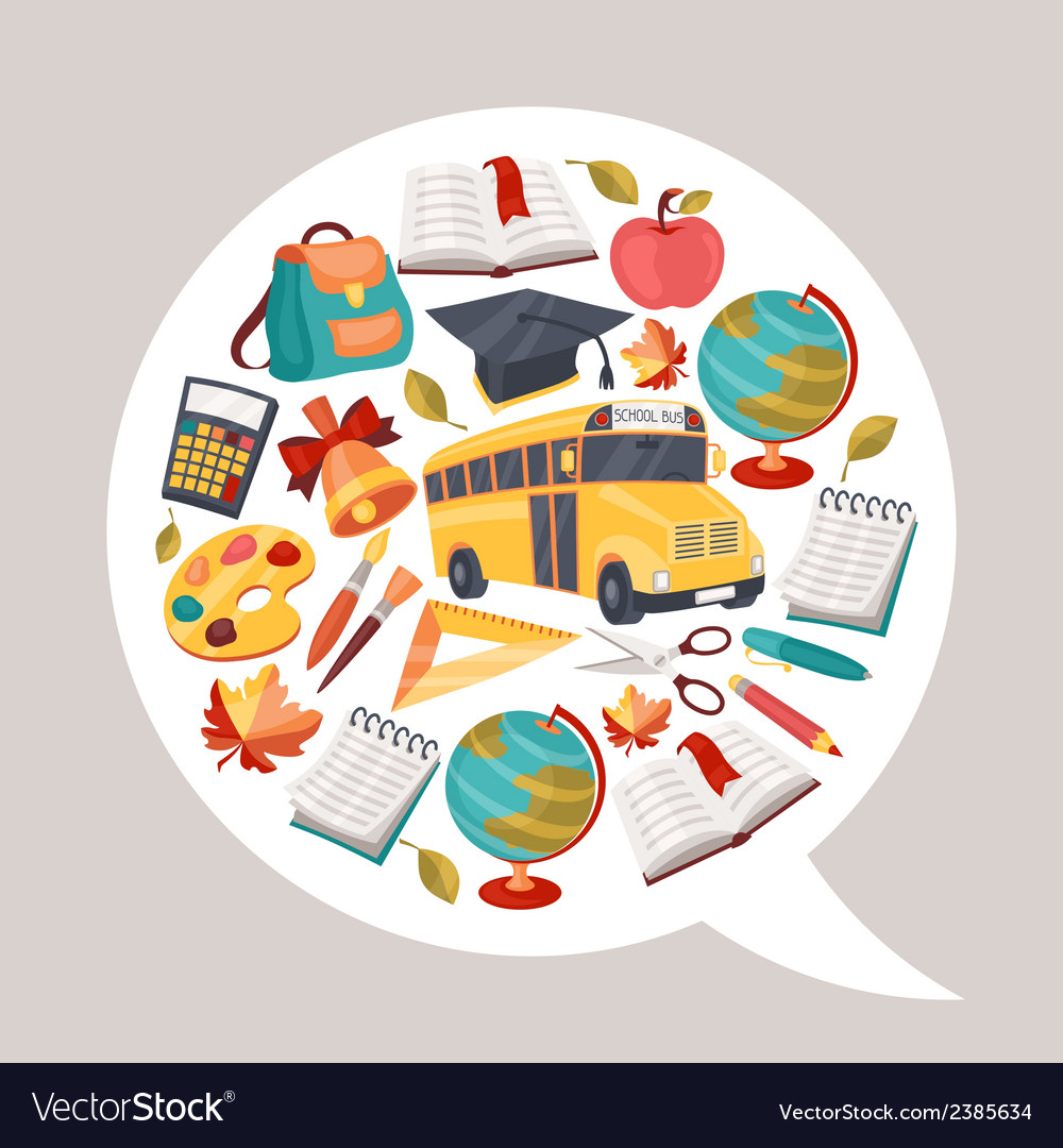 School background with education icons and symbols vector | Price: 1 Credit (USD $1)