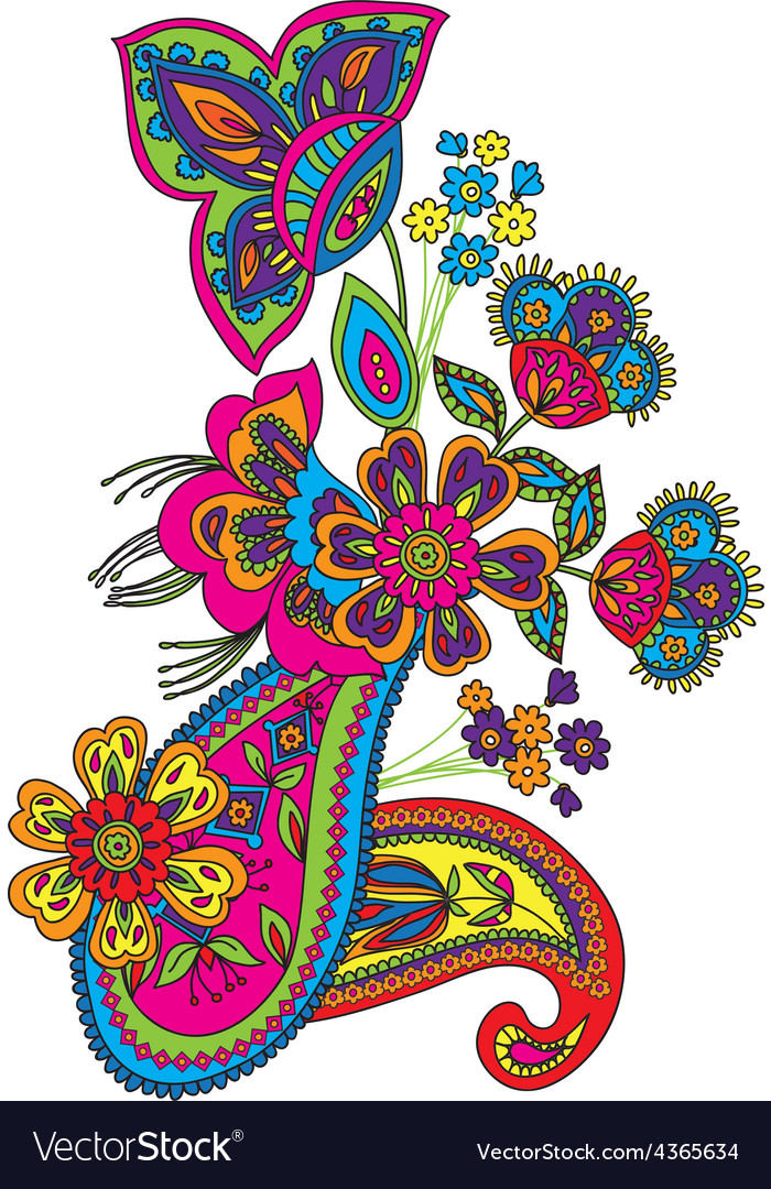 Traditional flower vector | Price: 1 Credit (USD $1)