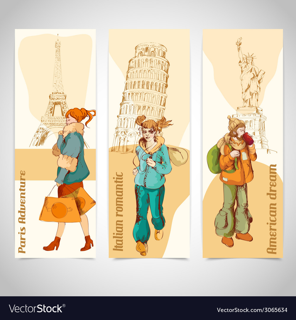 Urban people vertical banners sketch colored vector | Price: 1 Credit (USD $1)