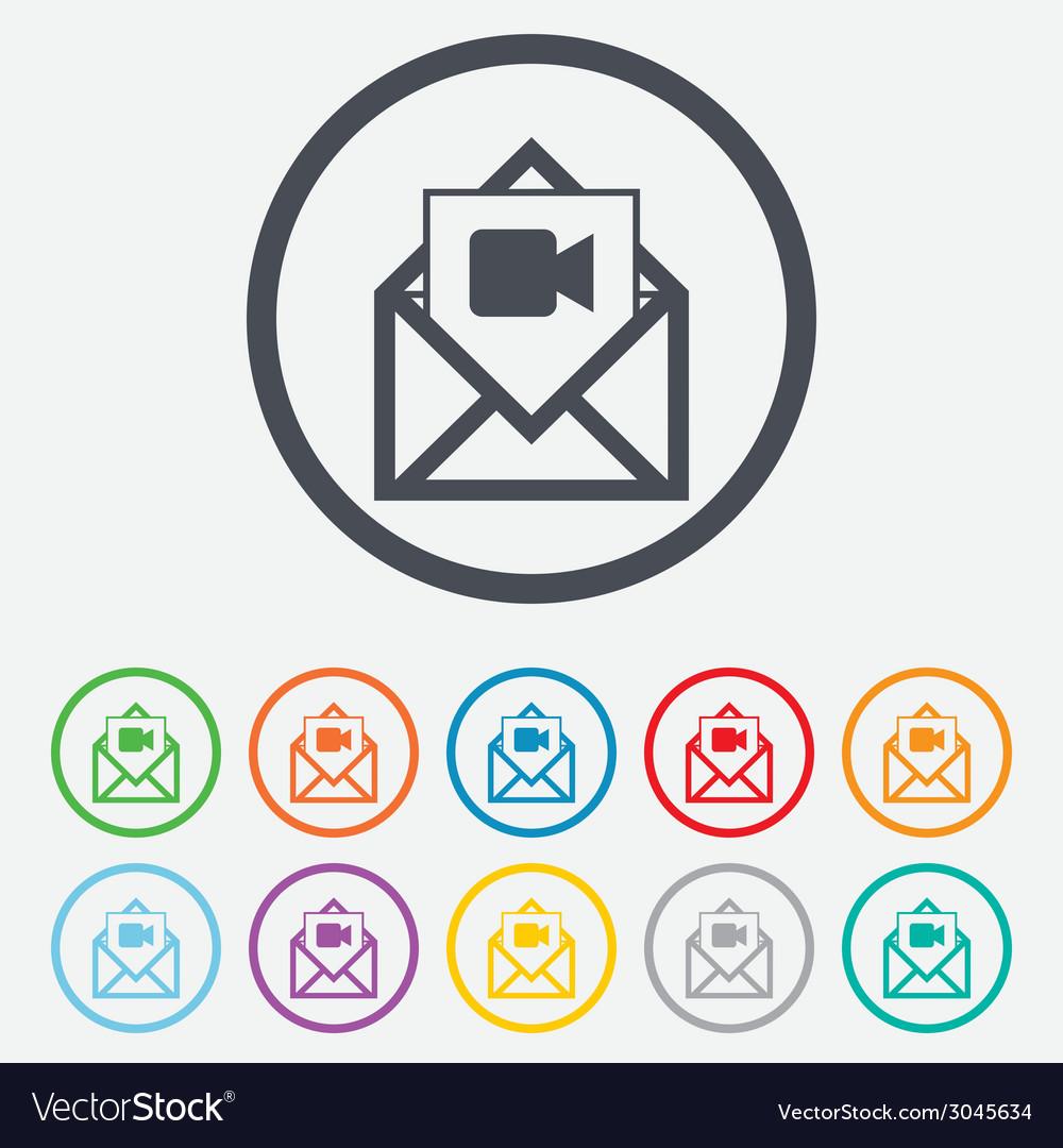 Video mail icon video camera symbol message vector | Price: 1 Credit (USD $1)