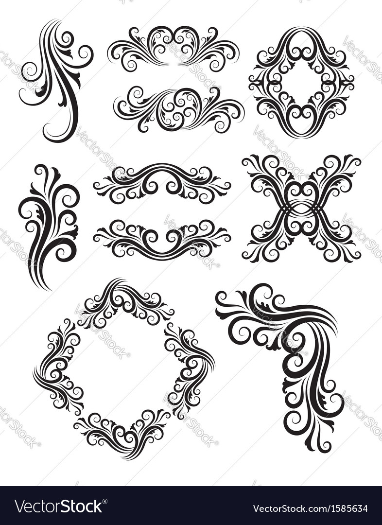 Vintage floral elemet decorations vector | Price: 1 Credit (USD $1)